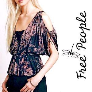 FREE PEOPLE Abracadabra Black & Lilac Tie-Dye Top